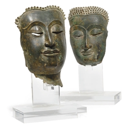 TWO THAI BRONZE BUDDHA HEADS