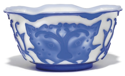 A CHINESE OVERLAY BLUE GLASS B