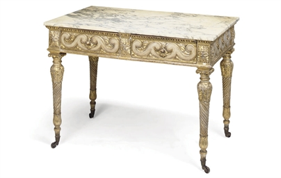 A GILTWOOD AND CREAM PAINTED C