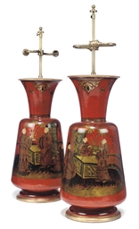 A PAIR OF GERMAN PAINTED TERRA