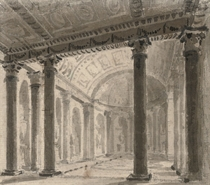 View of the interior of a basilica