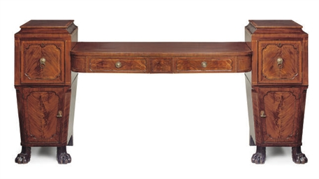 A LATE REGENCY MAHOGANY AND TULIPWOOD CROSSBANDED PEDESTAL S...
