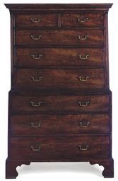 A GEORGE III MAHOGANY TALL BOY