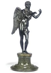 A BRONZE FIGURE OF AN ANGEL
