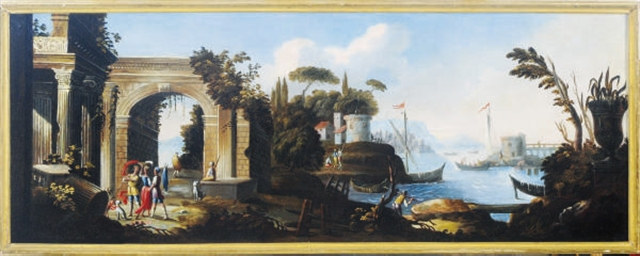 Coastal landscape with archite