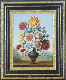 Still life of flowers in a blu