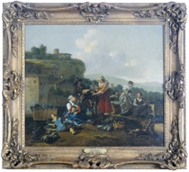 Figures at a vegetable market in an Italianate landscape