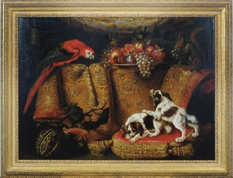 Still life of dogs, parrot and