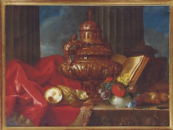 Still life with a silver vesse
