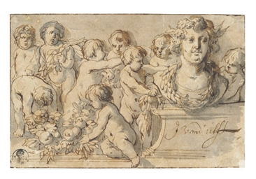 Putti decorating a portrait bu