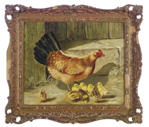 Hen with her chicks; and a com