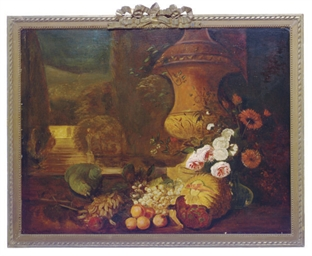 Still life of flowers and frui