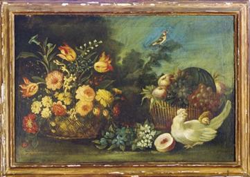 Still life of flowers, fruits