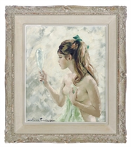 A nude girl holding a mirror