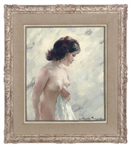 A nude girl holding a towel