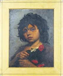 Child with red poppies; and a