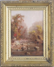 Riverbed landscape in autumn;