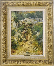 A peasant girl on a rocky path