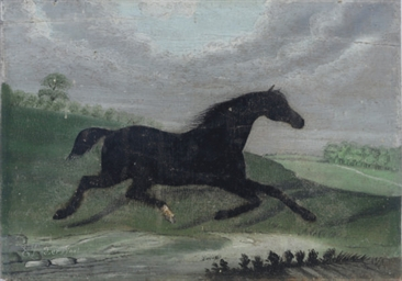 A black horse trotting through