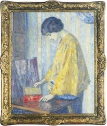 Woman in a yellow shawl openin