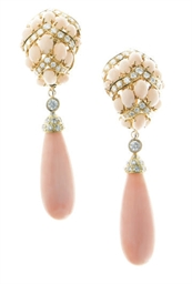 **A PAIR OF CORAL, DIAMOND AND