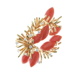 **A DIAMOND, CORAL AND GOLD BR