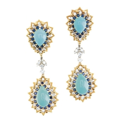 A PAIR OF TURQUOISE, DIAMOND,