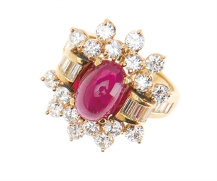 A RUBY, DIAMOND AND 18K GOLD R