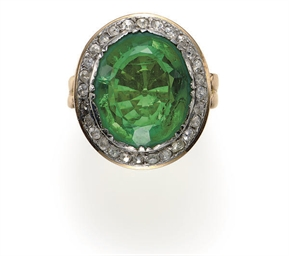 A SIMULATED EMERALD, DIAMOND A