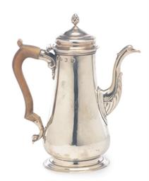 A GEORGE II COFFEE POT WITH HI