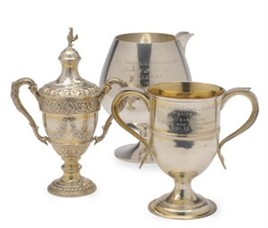 THREE SILVER RACING TROPHIES,