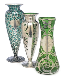 THREE AMERICAN GREEN GLASS AND