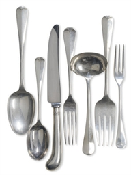 AN ASSEMBLED ELIZABETH II SILVER FLATWARE SERVICE FOR FOUR, ...