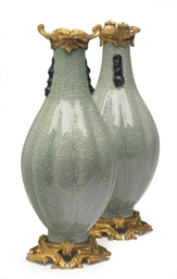 A PAIR OF GILT-METAL CELADON C