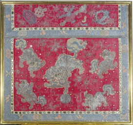 A RED SILK PANEL FRAGMENT EMBR