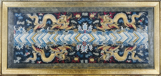 A CHINESE SILK PANEL EMBROIDER