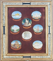 A FRAMED SET OF SEVEN INDIAN M