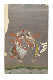 AN INDIAN PAINTING OF TWO DANC