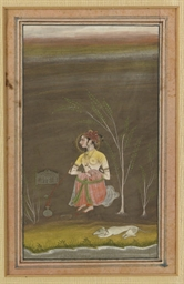 A INDIAN PAINTING OF A WOMAN S