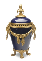 A SEVRES-STYLE COBALT BLUE-GRO