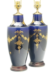 A PAIR OF SEVRES-STYLE COBALT