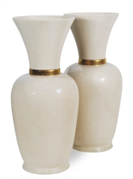 A PAIR OF LARGE FRENCH CERAMIC