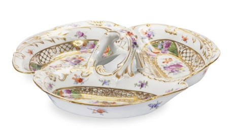 A GERMAN PORCELAIN TREFOIL SWE