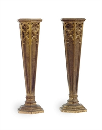 A PAIR OF GOTHIC REVIVAL GILT-