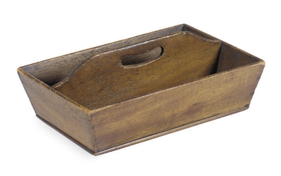 A WALNUT CUTLERY BOX,