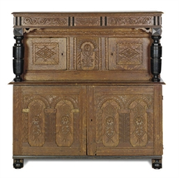 AN OAK COURT CUPBOARD,