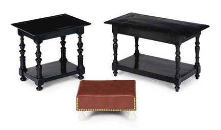TWO EBONIZED SIDE TABLES,