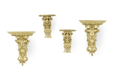 TWO PAIRS OF GILTWOOD FIGURAL