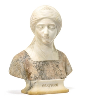 AN ITALIAN MARBLE BUST OF BEATRICE,