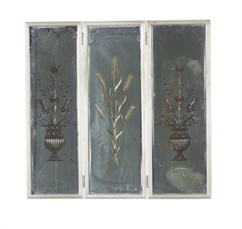 A SILVERED-WOOD THREE-PANEL MI